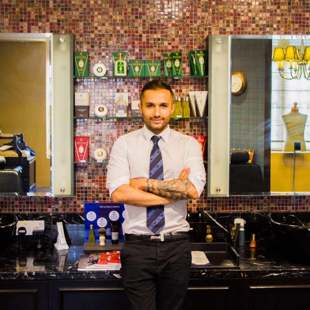 My barber at Truefitt & Hill, Ashkan. Photo by Jordan Bishop.