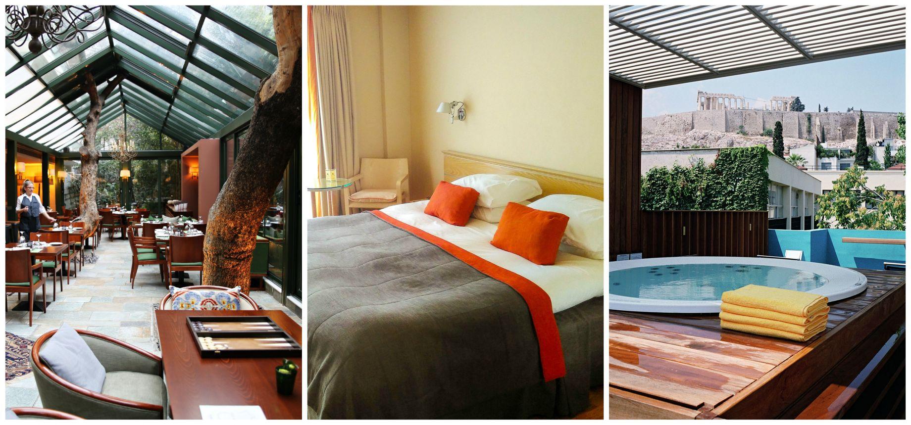 Herodion Hotel Lobby Bedroom and Jacuzzi Atrium