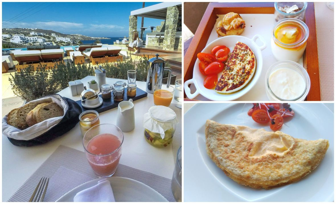 Luxury hotel view with breakfast mykonos